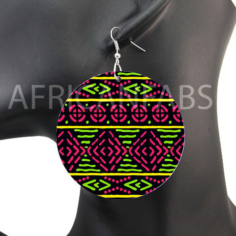 Green / pink mud cloth / bogolan | African inspired earrings
