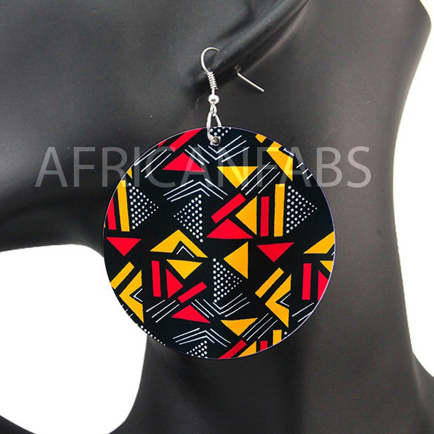 Black / red / yellow mud cloth / bogolan | African inspired earrings