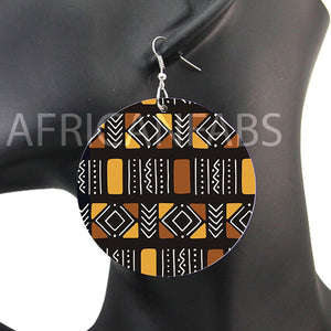 Brown / beige mud cloth / bogolan | African inspired earrings