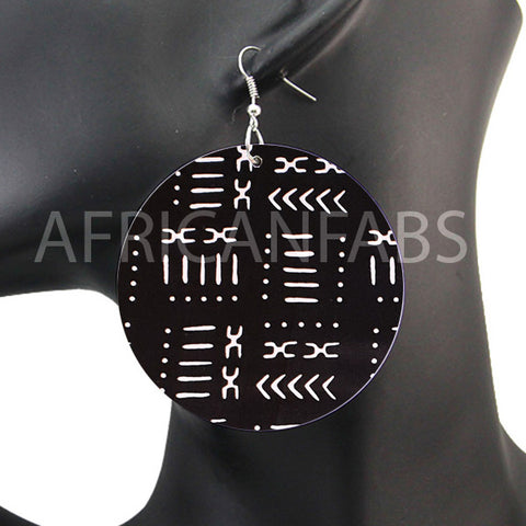 Black / white mud cloth / bogolan | African inspired earrings
