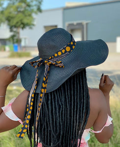 Black summer hat with African print strap - Bogolan