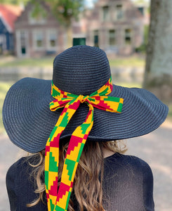 Black summer hat with African print strap - Red Yellow Kente
