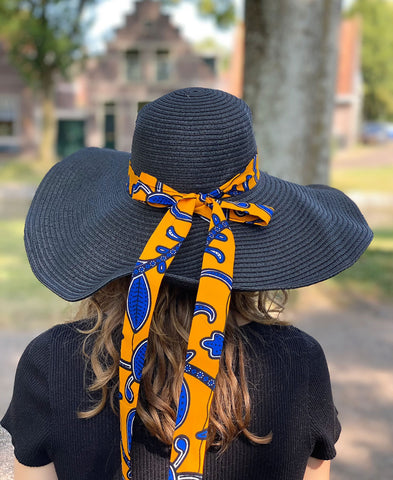 Black summer hat with African print strap - Yellow blue leaves
