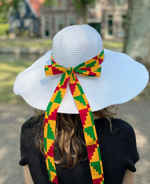 White summer hat with African print strap - Red Yellow Kente