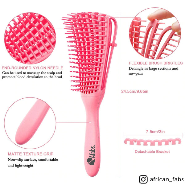 Afabs® Detangler brush | Detangling brush | Comb for curls | Afro hair brush | Pink