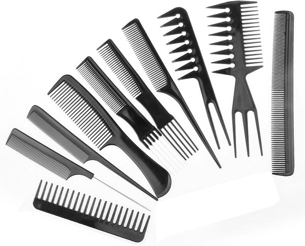 10 Piece Professional styling comb set - Hair comb set - Great for All Hair Types & Styles