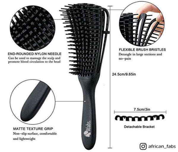Afabs® Detangler brush | Detangling brush | Comb for curls | Afro hair brush | Pastel Yellow