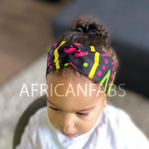 African print Headband - Kids - Hair Accessories - Mud cloth pink green