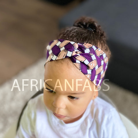 African print Headband - Kids - Hair Accessories - Purple blocks