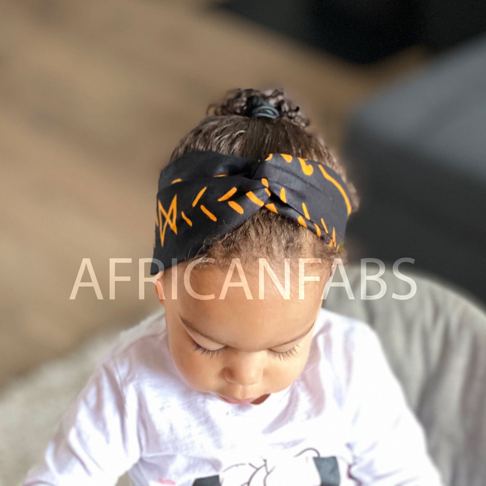 African print Headband - Kids - Hair Accessories - Black yellow bogolan