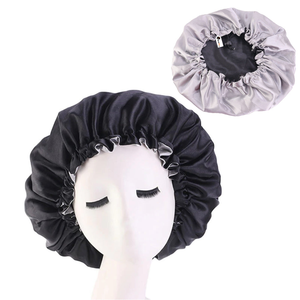 Black / Grey Satin Hair Bonnet ( Reversable Satin Night sleep cap )