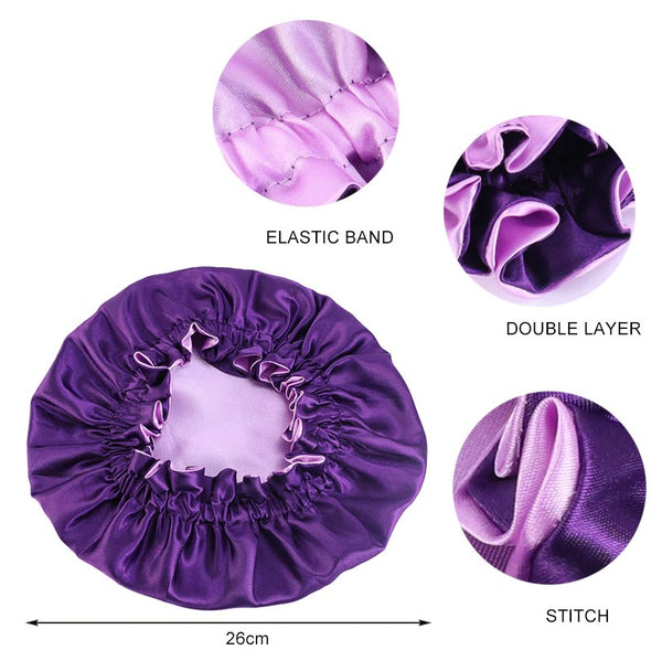 Purple Satin Hair Bonnet (Children's size 3-10 years) (Reversable Satin Night sleep cap)