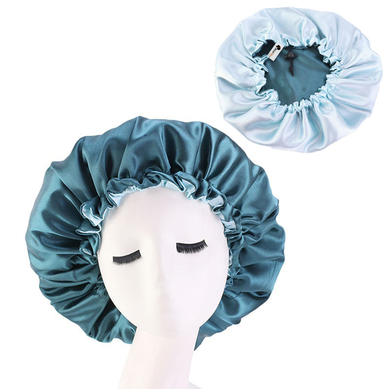 Green Satin Hair Bonnet ( Reversable Satin Night sleep cap )