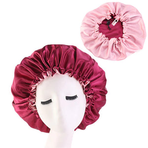 Red Satin Hair Bonnet ( Reversable Satin Night sleep cap )