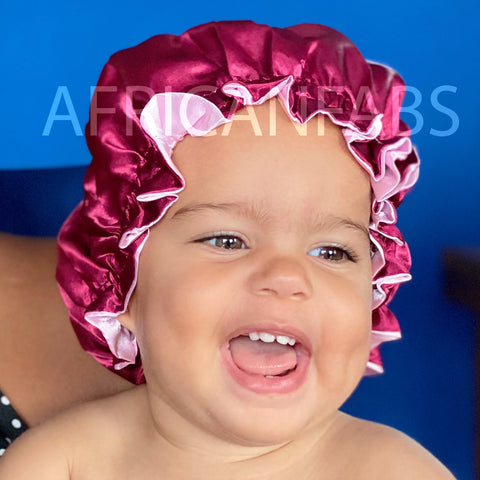 Red Satin Hair Bonnet (Children's size 3-10 years) (Reversable Satin Night sleep cap)