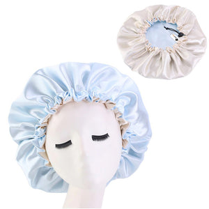 Lightblue Satin Hair Bonnet ( Reversable Satin Night sleep cap )