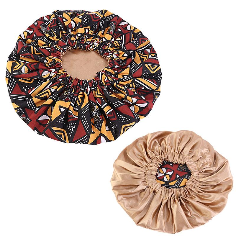 African Mud cloth / Bogolan Print Hair Bonnet ( Satin lined reversable Night sleep cap )