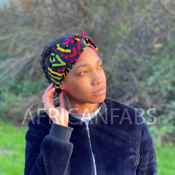 African print Headband - Adults - Hair Accessories - Mud cloth pink green