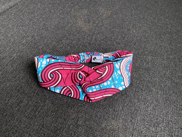 African print Headband - Adults - Hair Accessories - Blue / Pink