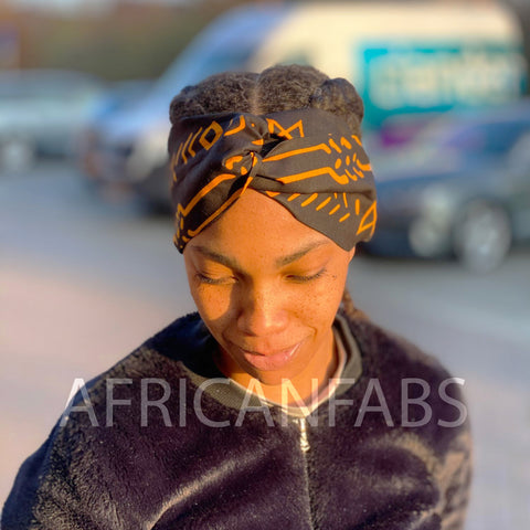 African print Headband - Adults - Hair Accessories - Black yellow bogolan
