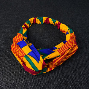African print Headband - Adults - Hair Accessories - Kente Blue / orange