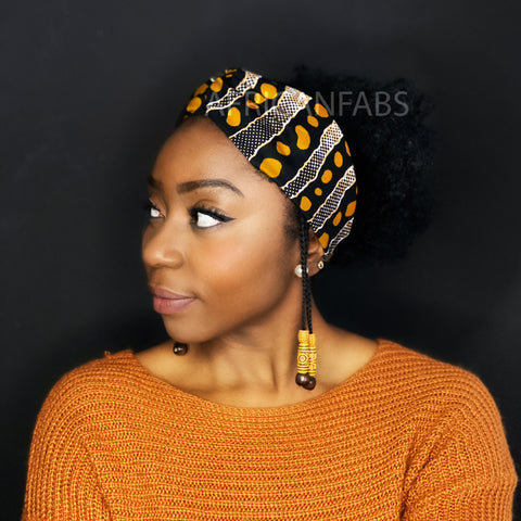 African print Headband - Adults - Hair Accessories - Black mustard bogolan