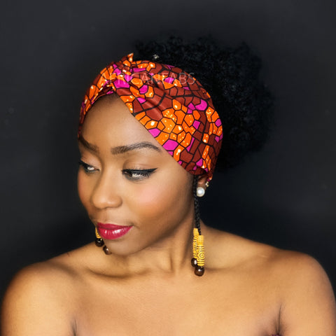 African print Headband - Adults - Hair Accessories - Pink orange