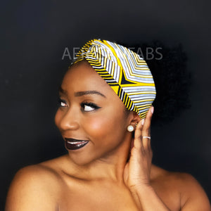 African print Headband - Adults - Hair Accessories - Yellow / silver paste fit