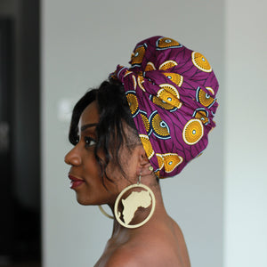 African purple / yellow mini disk headwrap
