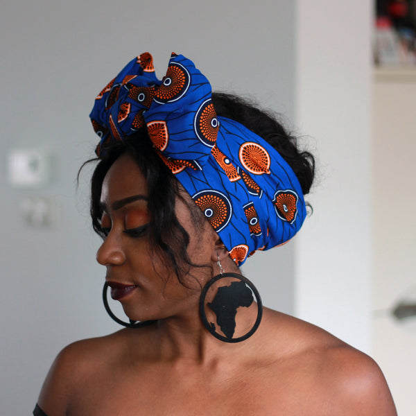 African blue / orange mini disk headwrap
