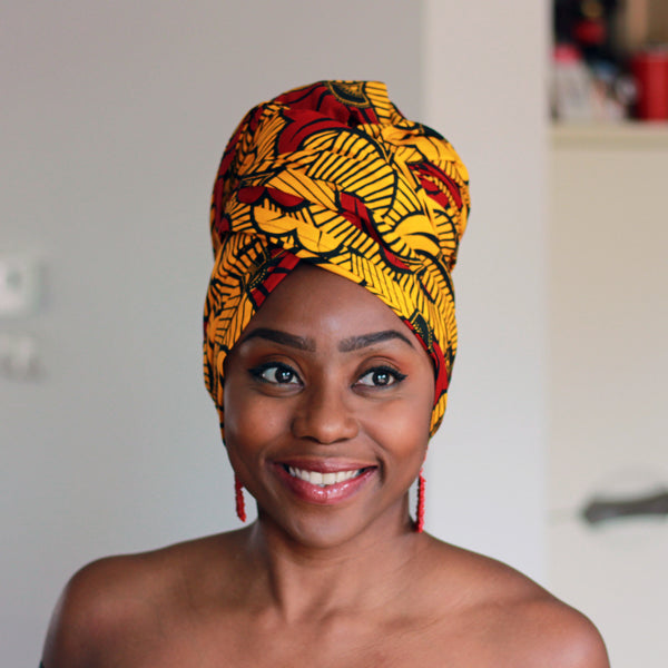 African headwrap - Gold / Red wedding flowers (Vlisco)