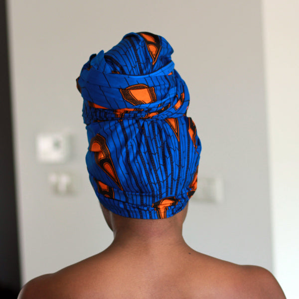 African headwrap - Blue / Orange electric bulb (Vlisco)