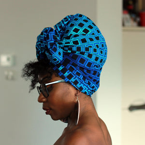 African blue digital panther headwrap