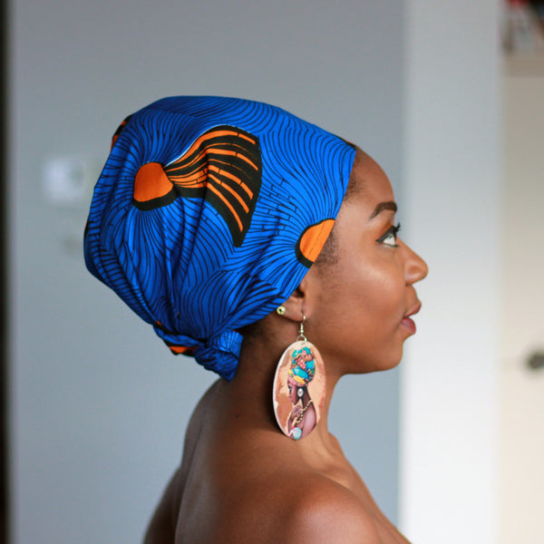 African headwrap - Blue / Orange shapes (Vlisco)
