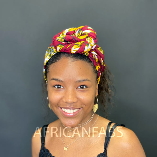African yellow / blue flower headwrap or bandana