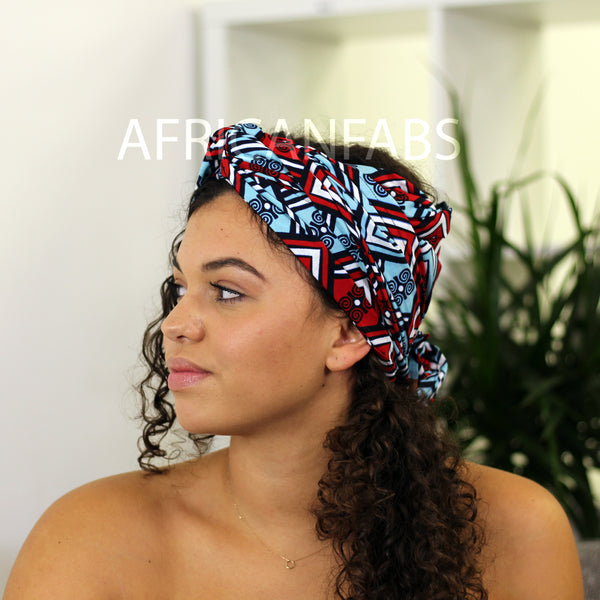 African headwrap - Yellow / Purple Tribal print