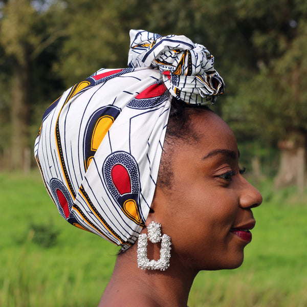 African headwrap - White / Red bulb (Vlisco)