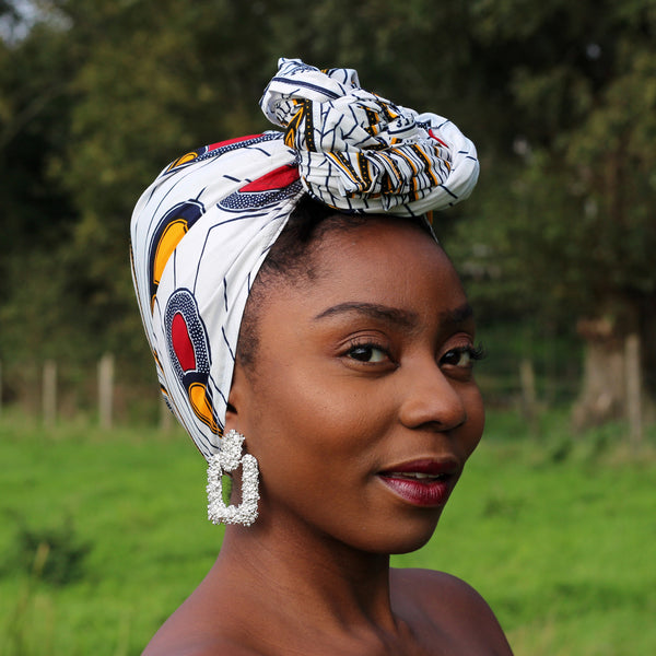 African headwrap or bandana - White / Red bulb (Vlisco)