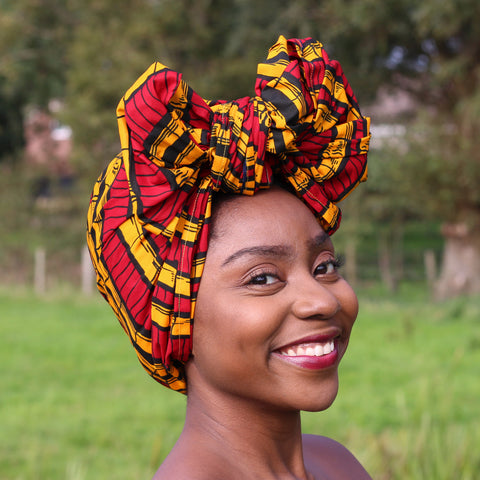 African headwrap or bandana - Red yellow sugar cane (Vlisco)