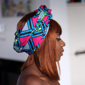 African blue / pink squares headwrap