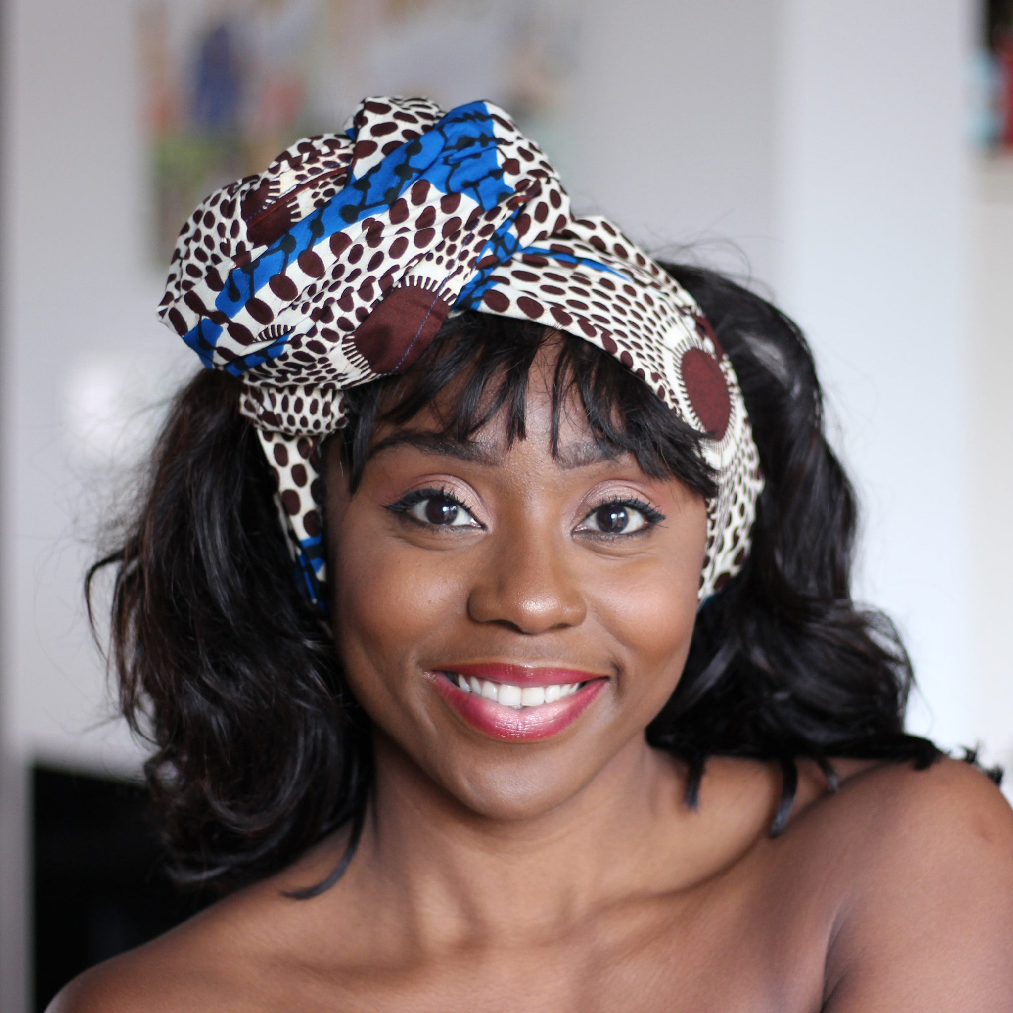 African headwrap - blue / white waterwell circles (Vlisco)