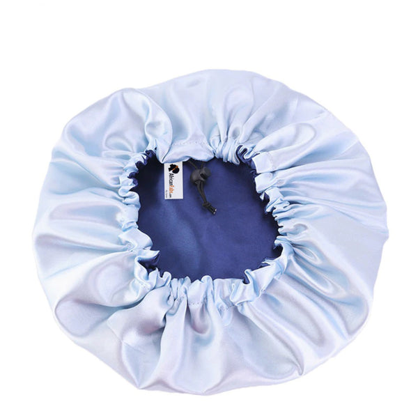 Blue Satin Hair Bonnet ( Reversable Satin Night sleep cap )