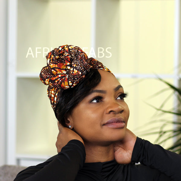 African headwrap yellow / red / blue kente