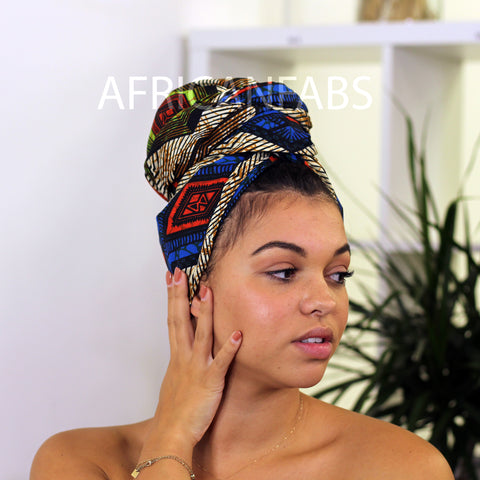 African headwrap blue panther