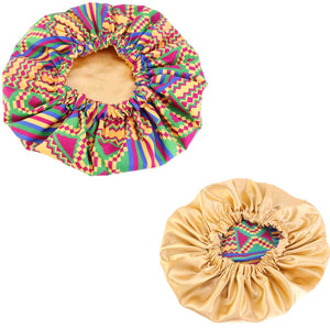 African Purple Green Kente Print Hair Bonnet ( Gold Satin lined  reversable Night sleep cap )