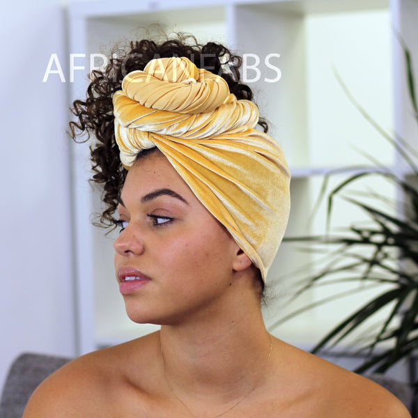 African headwrap - yellow white scales