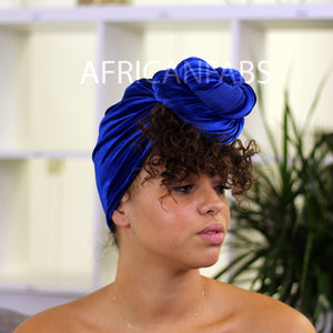 African headwrap - red / yellow swirl stripes