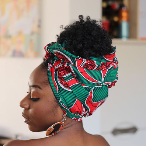 African headwrap - red / green swirl fan