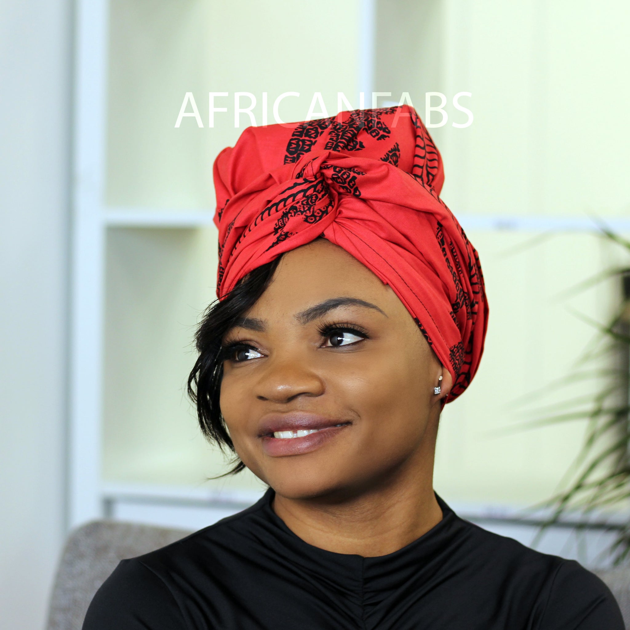 African headwrap - yellow / blue leaf branch
