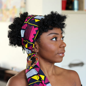 African headwrap - pink / yellow figure board